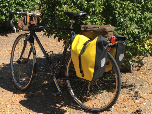 Setup for camping with a bike